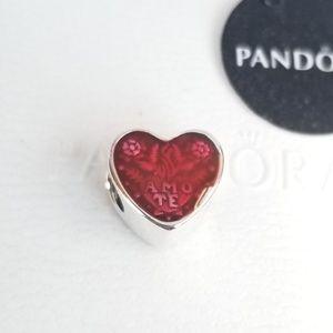 Pandora Amo Te Latin Love Heart Charm Silver Red